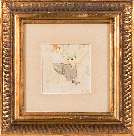 Maria wiik, water colour, signed m.w.