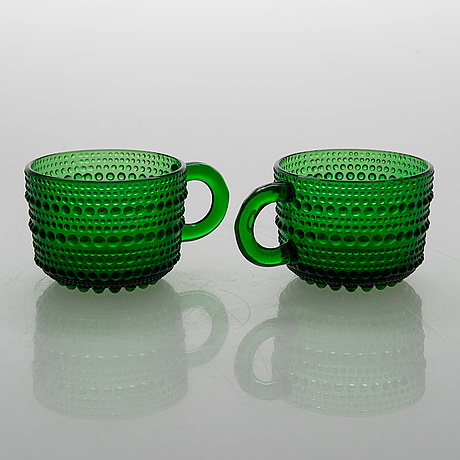 "A set of 12 punch cups in glass ""kastehelmi"" by oiva toikka, arabia. finland."