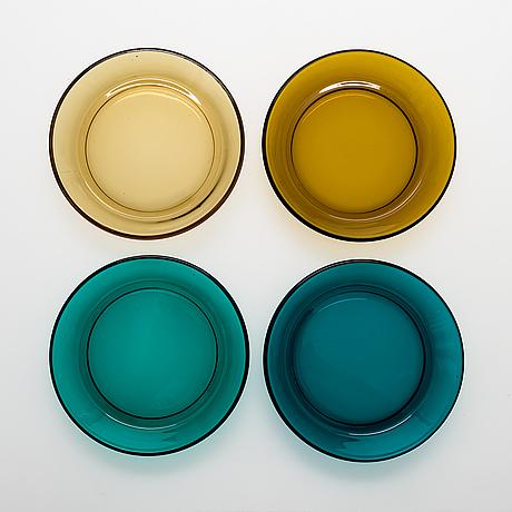 Kaj franck, a set of 13 glass plates from nuutajärvi, finland 1950s-1960s.