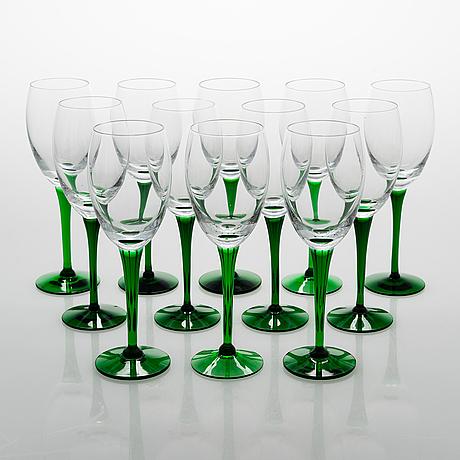 Saara hopea,  a set of 12 'traviata' wine glasses, nuutajärvi.