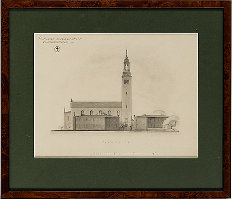 3 architectural drawings, pencil, 20th century.