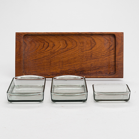 A pair of danish teak and glass serving trays. kastrup holmegaard 1960's.