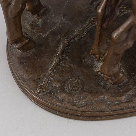 Alfred jacquemart, a bronze sculpture, 'les boefs', signed, barbedienne fondeur.