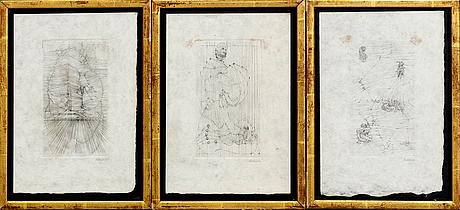 Hans bellmer, etchings, 7 pcs, signed.