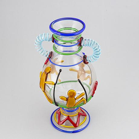 "A ""vaso picasso indiani"" glass vase, model a/99, vetreria tfz internationale, murano, italien."