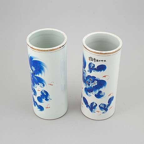 Two vases with buddhist lions in blue, china, 20th century.