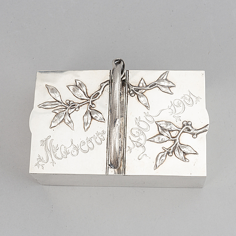 A russian early 20th century parcel-gilt silver box, mark of fyedor lorie, moscow 1899-1908.