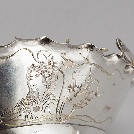 A russian early 20th century parcel-gilt silver basket, unidentified makers mark, moscow 1899-1908.