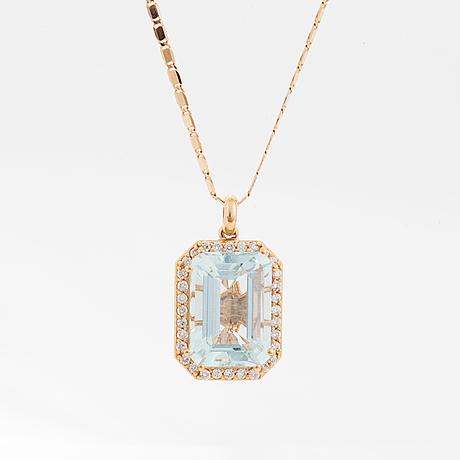 Emerald-cut aquamarine and brilliant-cut diamond necklace.