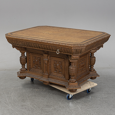 An oak library table, 1890's.