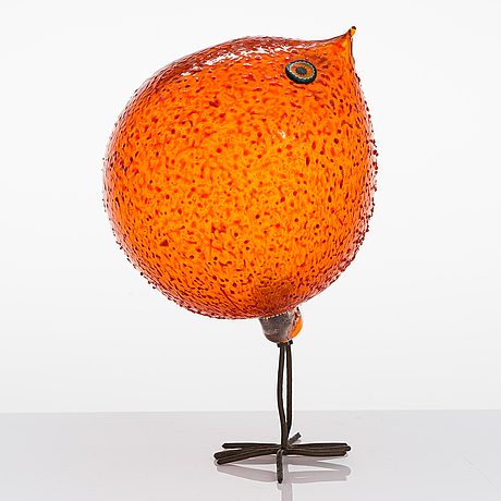 Alessandro pianon, a 1960's 'pulcino' glass bird for vistosi, italy.