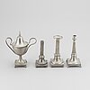 3 candlesticks and a sugar bowl, pewter, sweden 18/19th century.