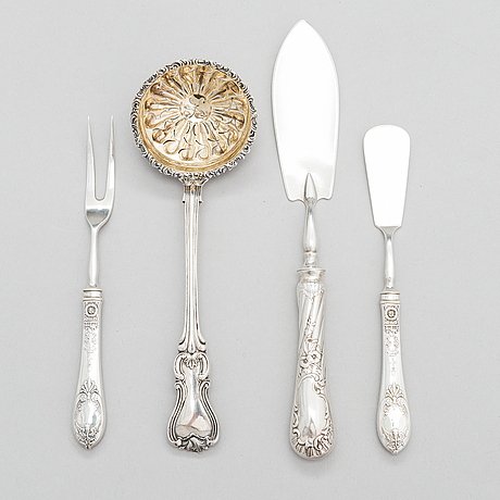 Four pieces of russian silver cutlery.
