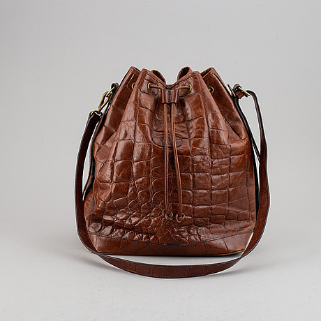 Mulberry, a leather drawstring bag.