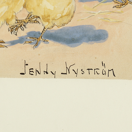 Jenny nystrÖm, watercolour & gouache,signed.