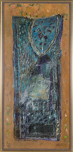 Marjaana savander, mixed media on board, signed and dated 1986.