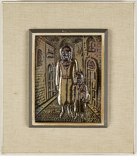 Arieh merzer, a silver plated copper relief.