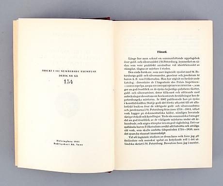 "Böcker 3 st, falk simons silversamling av g munthe; l. bäcksbacka, ""st. petersburgs juvelerare.., hc bainbridge: fabergé."
