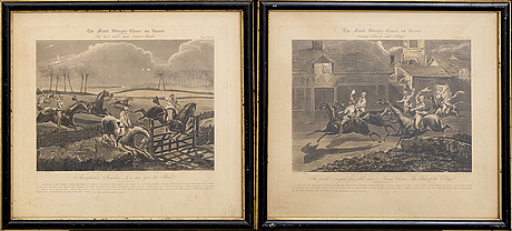 Alken, harris, after,  four lithographs, hand colored, engraved by j. harris.