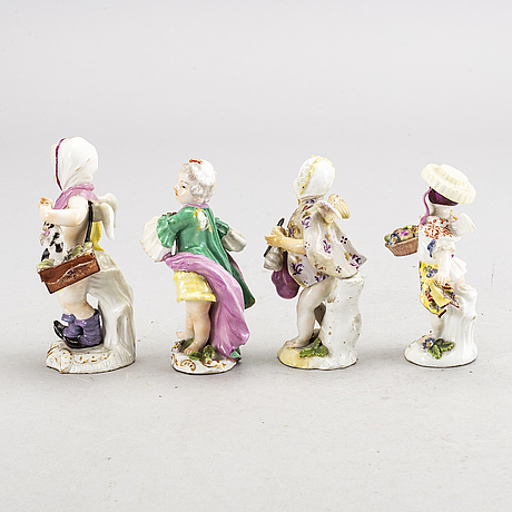 Set of four porcelain figurins, two marked meissen, 18th century.