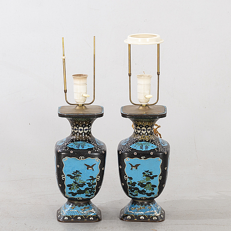 A pair of japanese cloisonnÉ table lamps ca 1900.