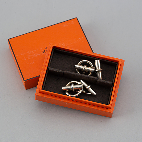 HermÈs, a pair of silver cuff links.