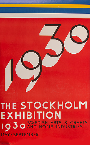 Sigurd lewerentz, a poster from 'the stockholm exhibition 1930' printed in 1976.