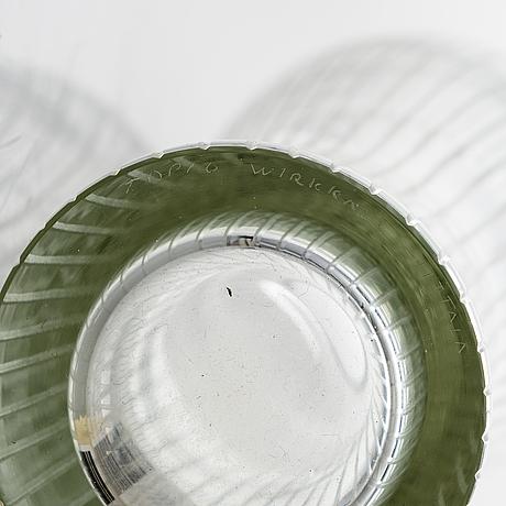 Tapio wirkkala, a 'foal leg' glass vase, signed tapio wirkkala, iittala.