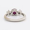 Ring platinum, 1 cabochon-cut ruby and 2 brilliant-cut diamonds 0,08 ct inscribed, atelje ajour stockholm 1965.