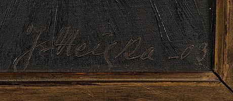 Jonas heiska, oil on board, signed and dated-03.