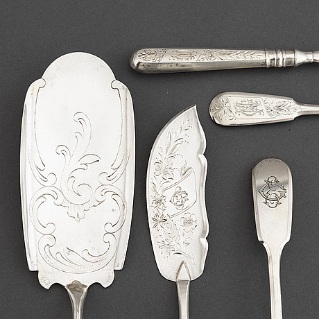 Cutlery, 7 pcs, and cup, silver, russia, including st. petersburg 1891.
