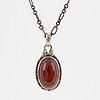 A georg jensen silver and cabochon-cut amber necklace.