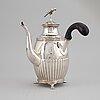 A swedish silver empire coffee pot, mark of petter adolf sjöberg, stockholm 1829.