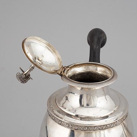 Petter adolf sjöberg, kaffekanna, silver, empire, stockholm 1829.