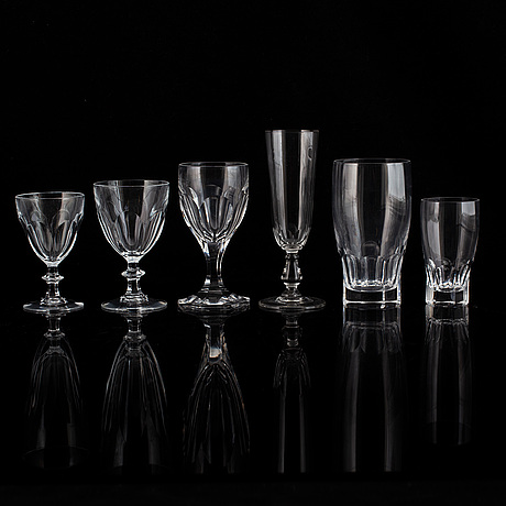 A glass service, 20th century, presumably orrefors. (61 pieces).