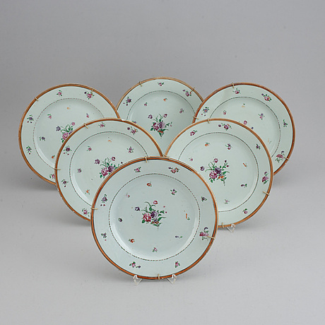 A set of 12 famille rose plates (6+6), qing dynasty, qianlong (1736-95).