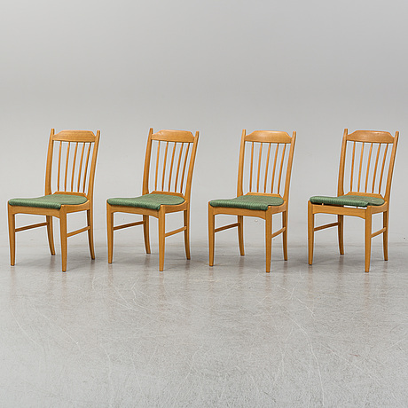 "Carl malmsten, a set of four ""nya guldheden"" oak dining chairs, Åfors möbelfabrik."