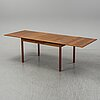 """A 1960s teak dining table, """"bjärni"""", troeds, bjärnum."""