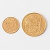 Guldmynt, 20 kr, fredrik viii, danmark, 1911, samt 5 kr, gustav v, 1920.