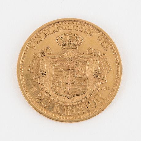 Mynt, guld, 20 kronor, oscar ii, 1898.