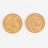 Mynt, guld, 10 kronor, oscar ii, 1883 och 1895.