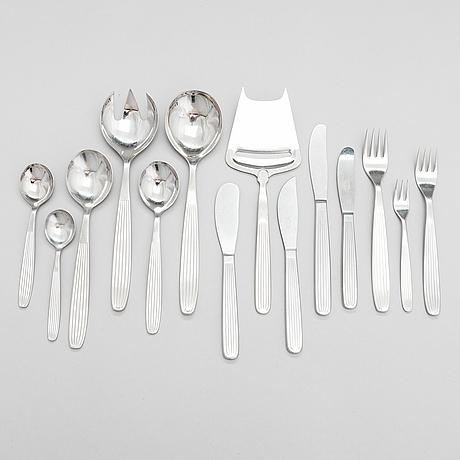 "Kaj franck, a set of 46 stainless steel ""scandia"" cutlery service for hackman sorsakoski, finland. design year 1952."