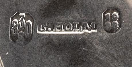 A danish 20th century silver coffeepot mark of c holm copenhagen 1938, total weight  ca 500 gr, hight 20 cm.