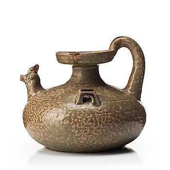 603. A olive green glazed wine jar, probably Jin/Six dynasties (265-420).