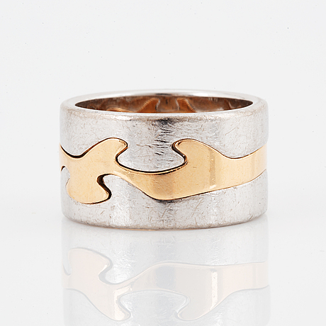 "Georg jensen, ""fusion"". rings, 3 st, 18k gold with brilliant-cut diamonds. nina koppel."