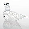 Oiva toikka, glass bird, finland's 75th independence year, sign. suomen sotka oiva toikka, nuutajärvi 1992, 600/1992.