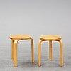 Alvar aalto, a pair of birch stools, artek, finland.