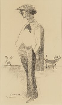 EINAR NERMAN, Charchoal on paper, signed.