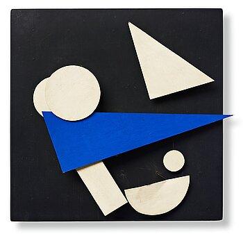 """194. Jean Tinguely, """"Eléments blanc et bleu sur fond noir""""."""