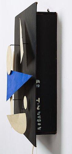 """Jean tinguely, """"eléments blanc et bleu sur fond noir""""."""